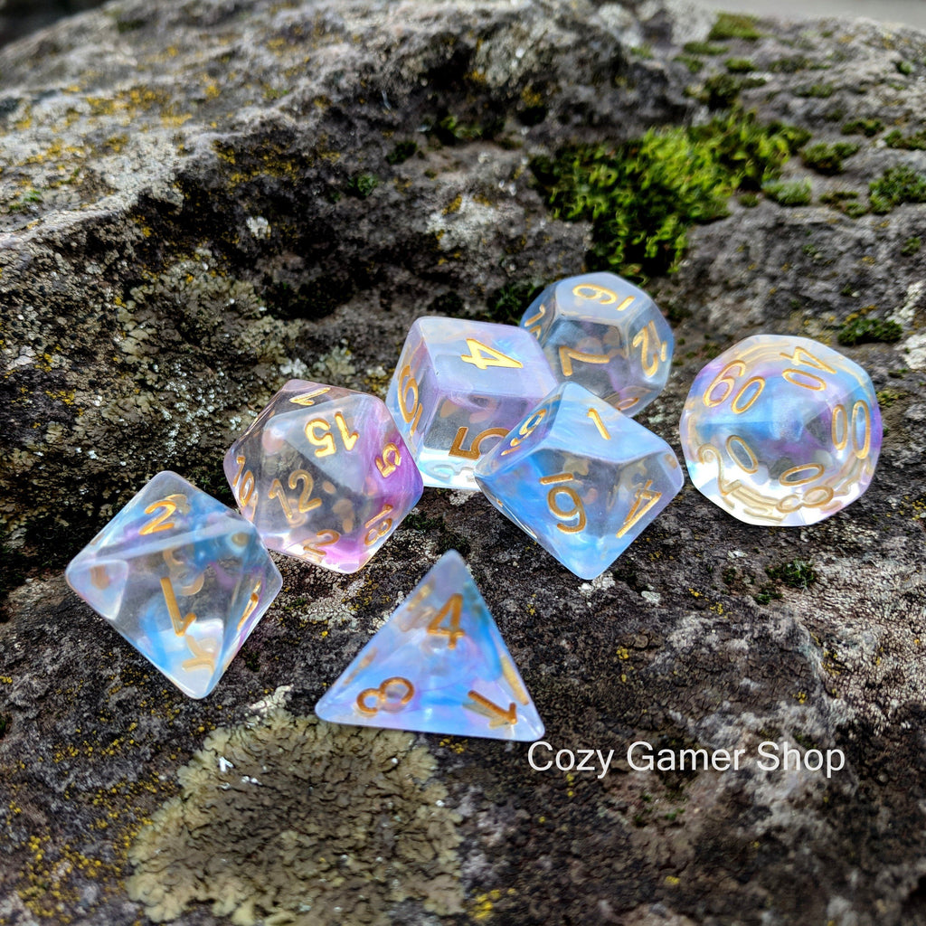 Reflection Dice Set, Transluscent Resin Dice with Blue and Purple Ink - CozyGamer