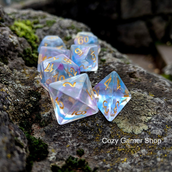 Reflection Dice Set, Transluscent Resin Dice with Blue and Purple Ink-Dice sets-CozyGamer