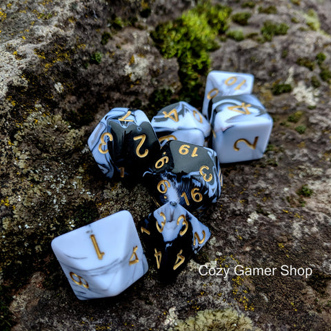 Black and White Marble Dice Set-Dice sets-CozyGamer
