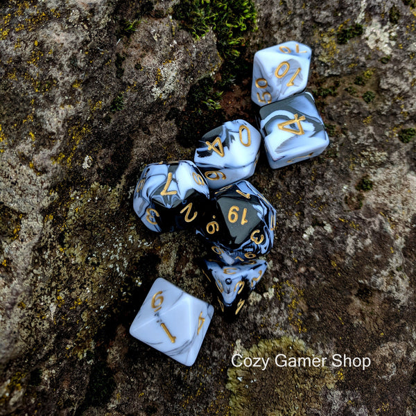 Black and White Marble Dice Set