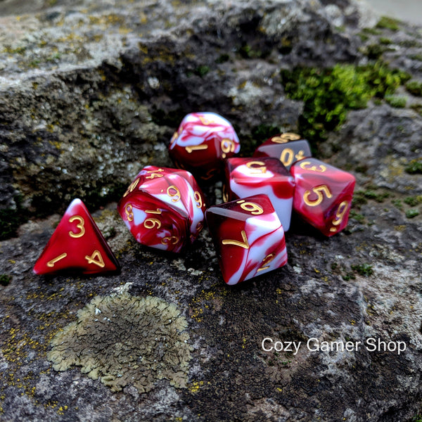 Battle Mage's Bloody Dice Set, Red and White Marbled 7 Piece D&D Dice Set-Dice sets-CozyGamer