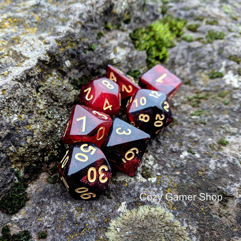 Blood Ruby Dice Set, Black and Red Glitter Marbled 7 Piece D&D Dice Set