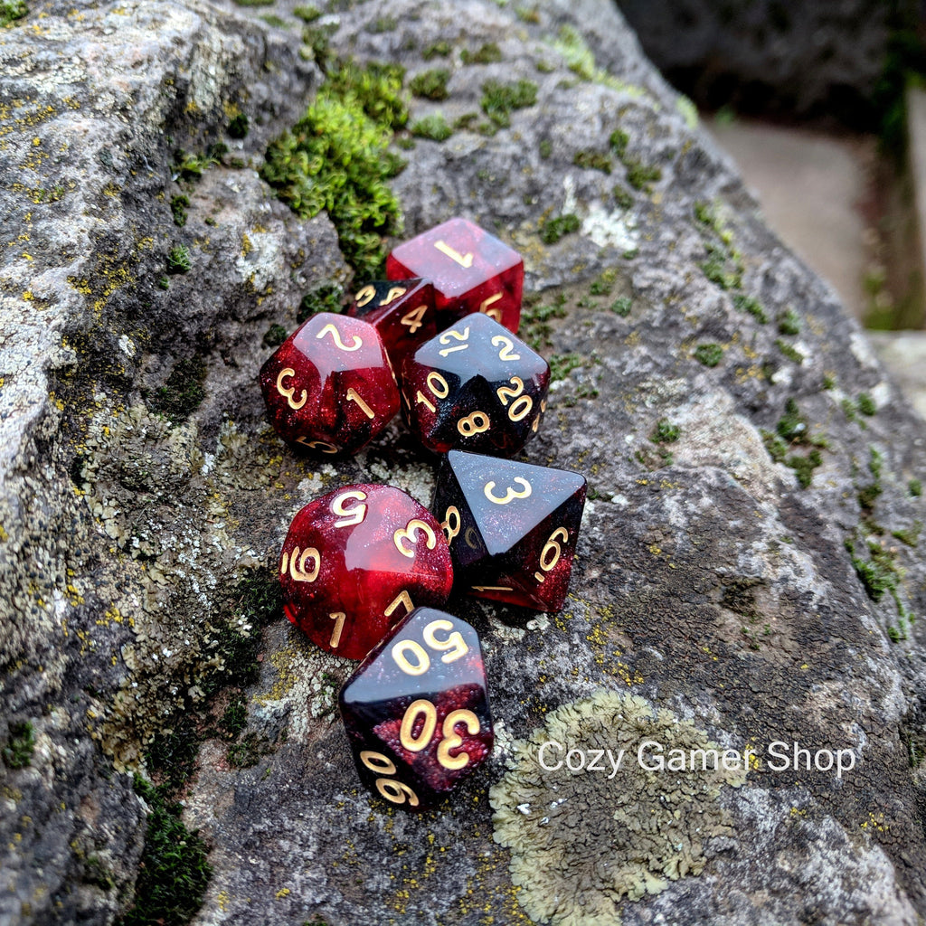 Blood Ruby Dice Set, Black and Red Glitter Marbled 7 Piece D&D Dice Set - CozyGamer