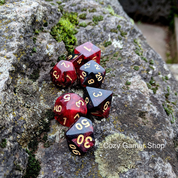 Blood Ruby Dice Set, Black and Red Glitter Marbled 7 Piece D&D Dice Set-Dice sets-CozyGamer