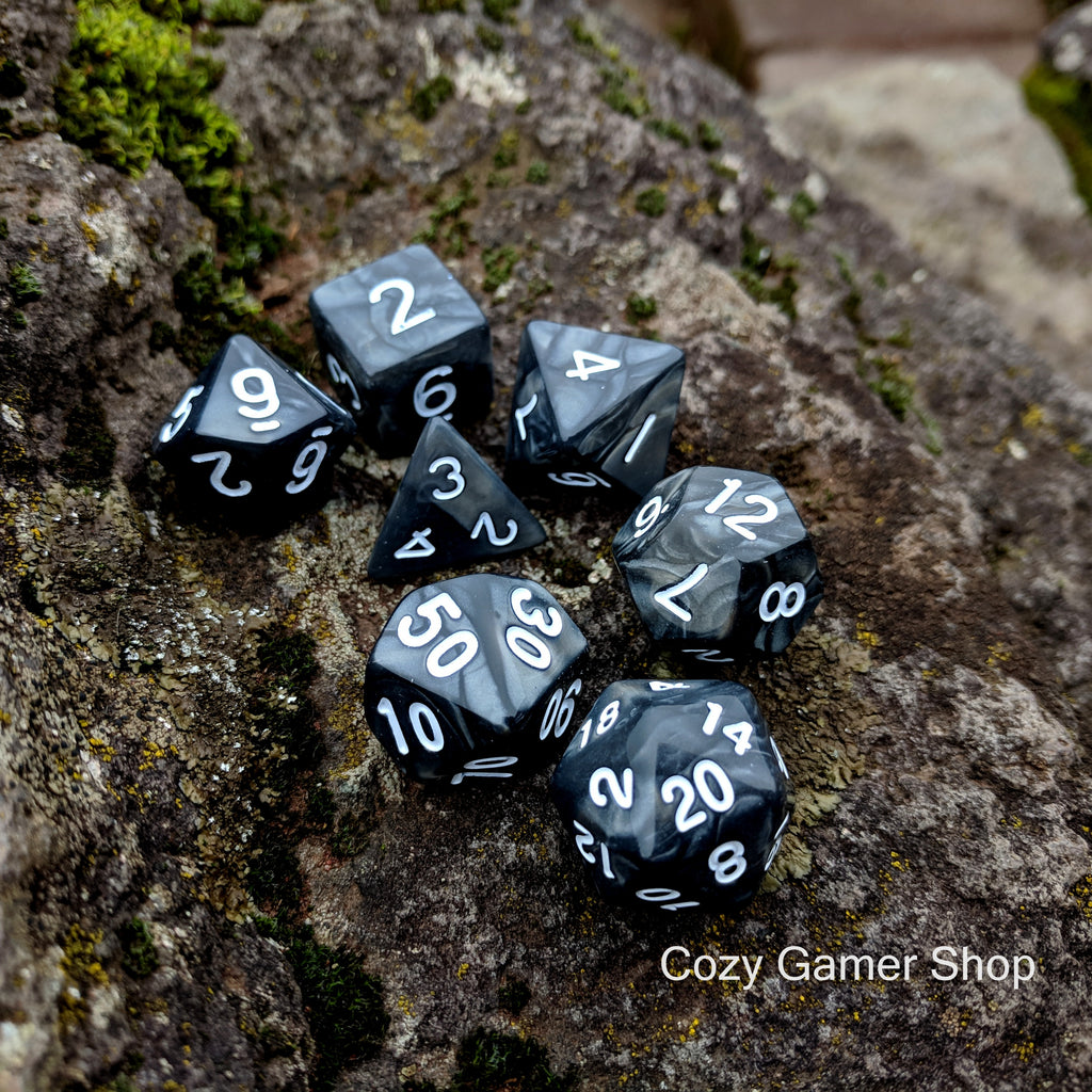 Temper Dice Set. Black and Silver Pearly Marble Dice - CozyGamer