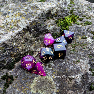 Warlock Dice Set, Black and Purple Glitter Marbled 7 Piece D&D Dice Set-Dice sets-CozyGamer