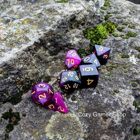 Warlock Dice Set, Black and Purple Glitter Marbled 7 Piece D&D Dice Set