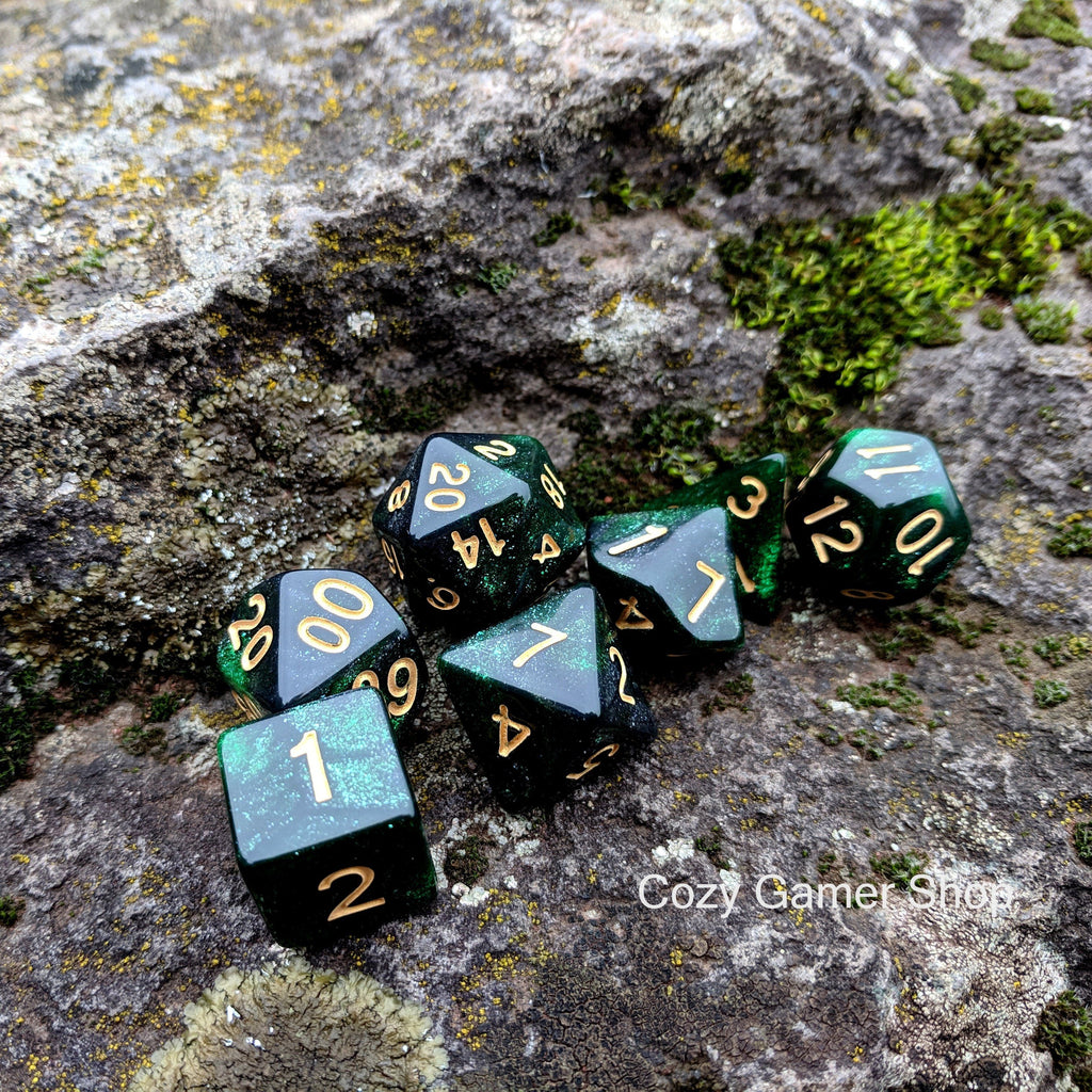 Ranger Dice Set, Black and Green Glitter Marbled 7 Piece D&D Dice Set - CozyGamer