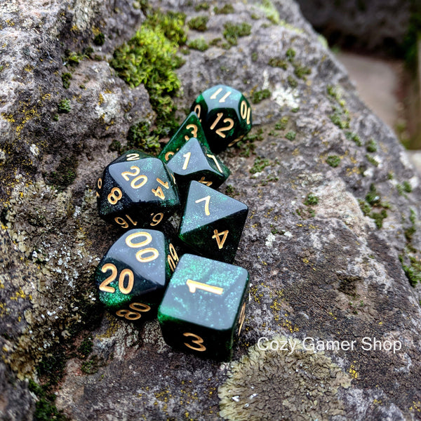 Ranger Dice Set, Black and Green Glitter Marbled 7 Piece D&D Dice Set