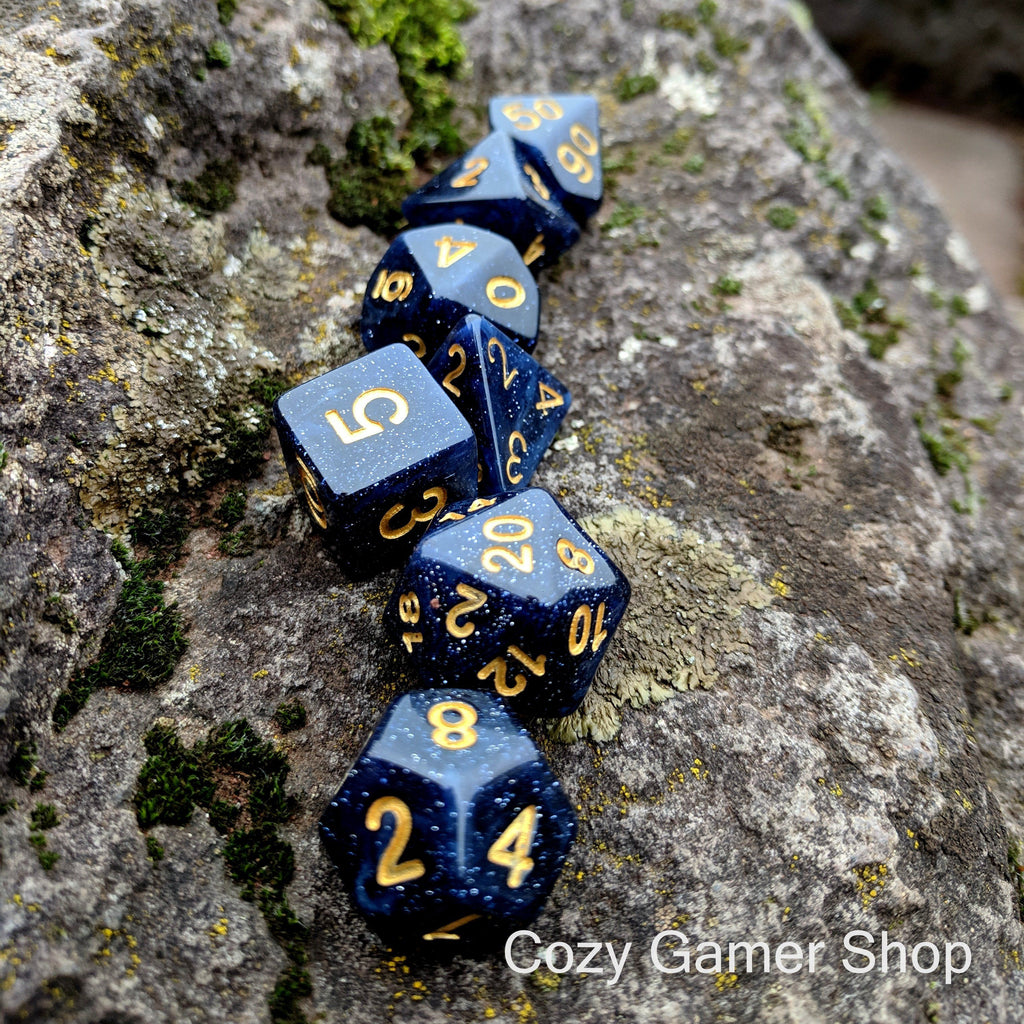 Endless Night Dice Set. Dark cloudy skies with stars peeking through - CozyGamer
