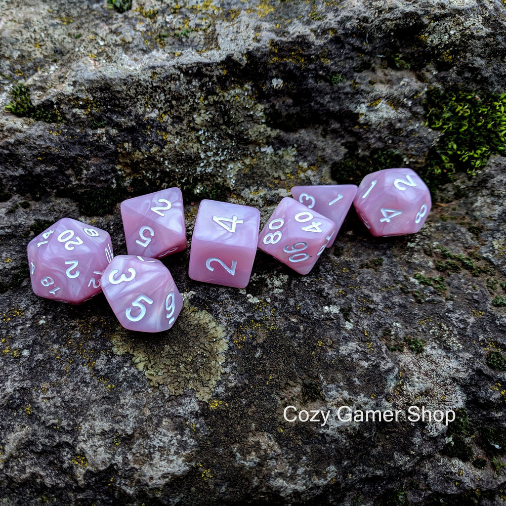 Lilac Dream 7 Piece Dice Set - CozyGamer