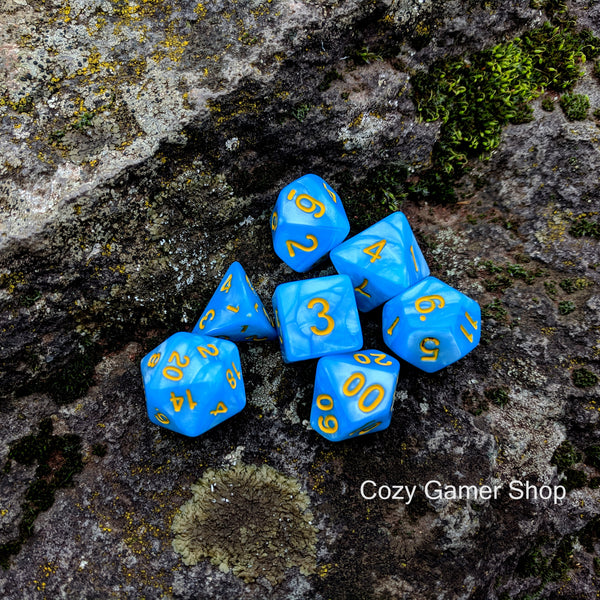 Crystal Blue Lake Dice Set