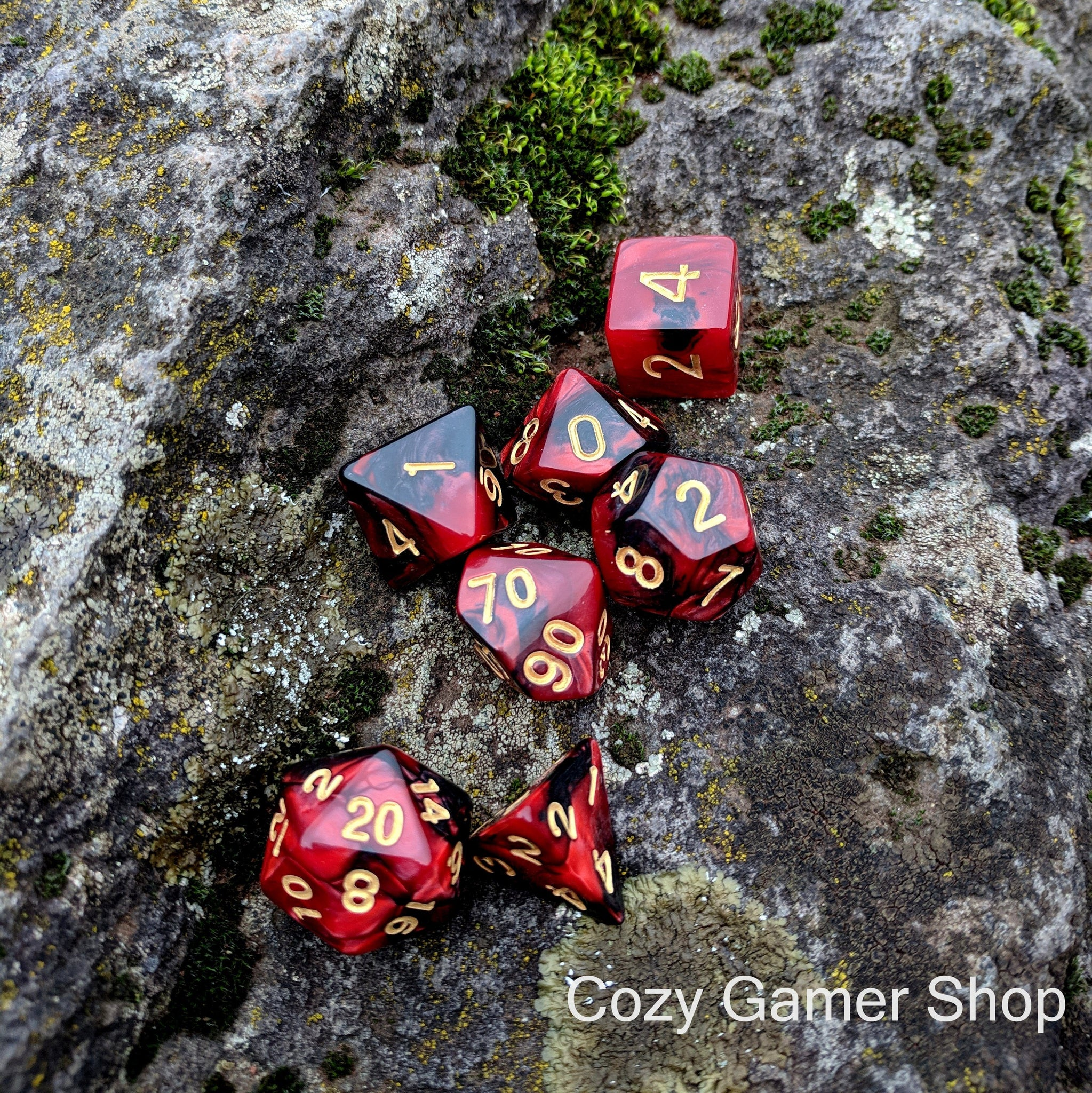 Blood Dice Set, Red and Black Marbled 7 Piece D&D Dice Set