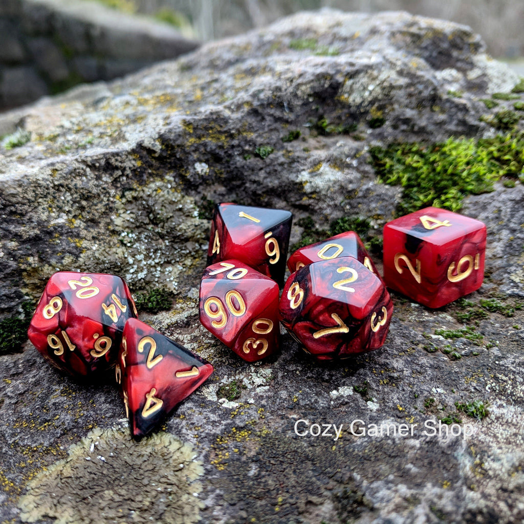 Blood Dice Set, Red and Black Marbled 7 Piece D&D Dice Set - CozyGamer