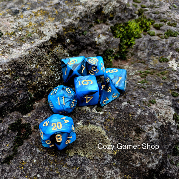 Graveyard Dice Set, Blue and Black Marbled 7 Piece D&D Dice Set