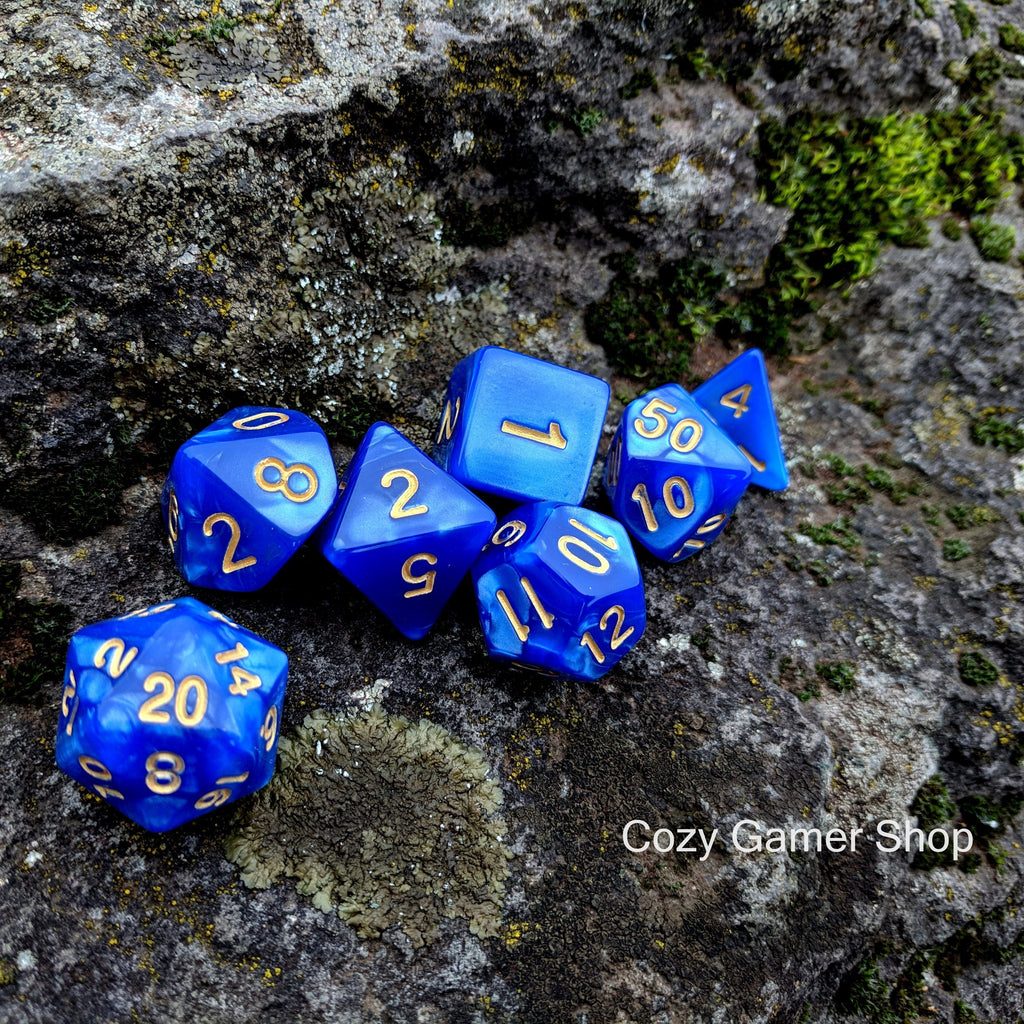 Ocean Deep Dice Set, marbled blue DND dice set - CozyGamer