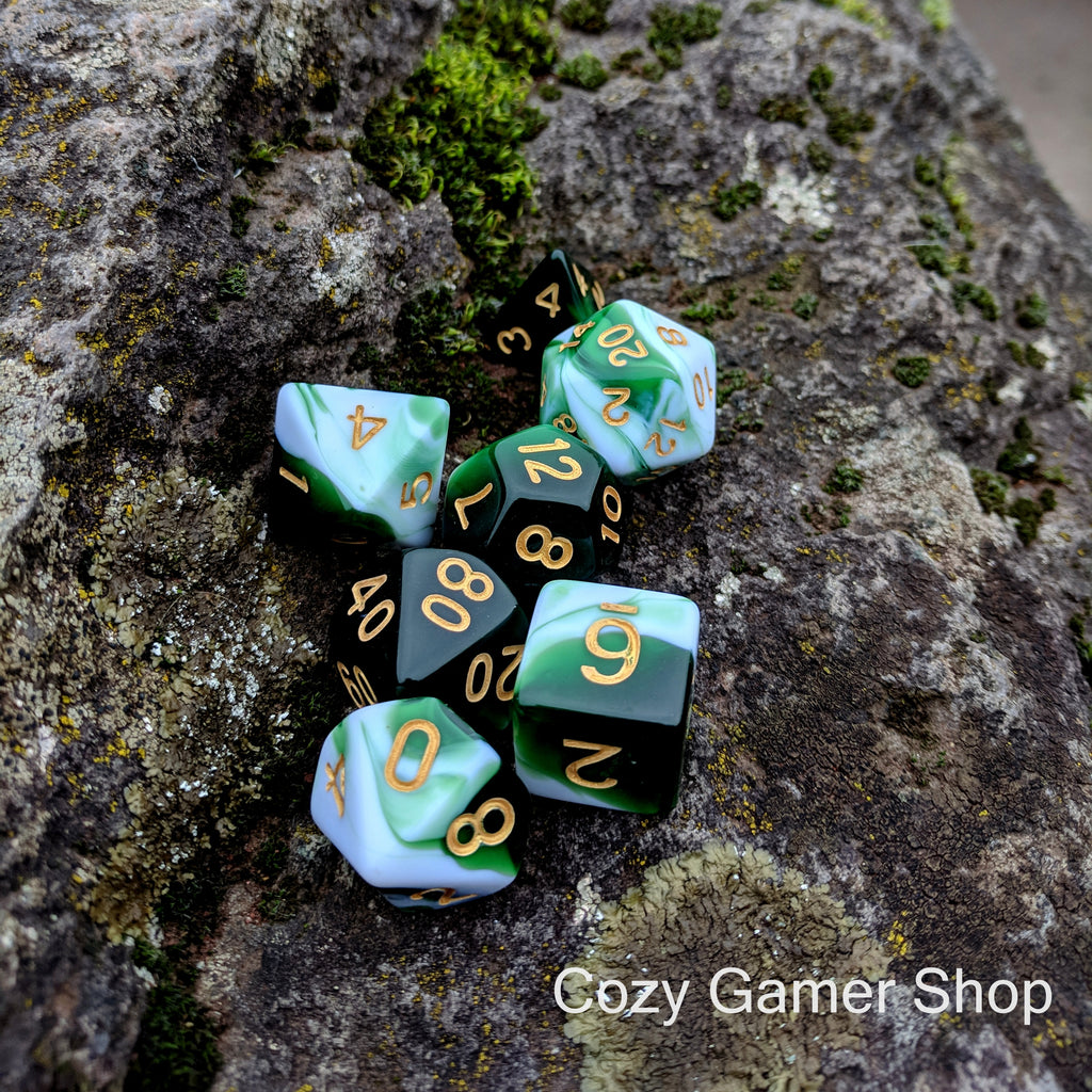 Volley Dice Set, Green and White Marbled 7 Piece D&D Dice Set - CozyGamer