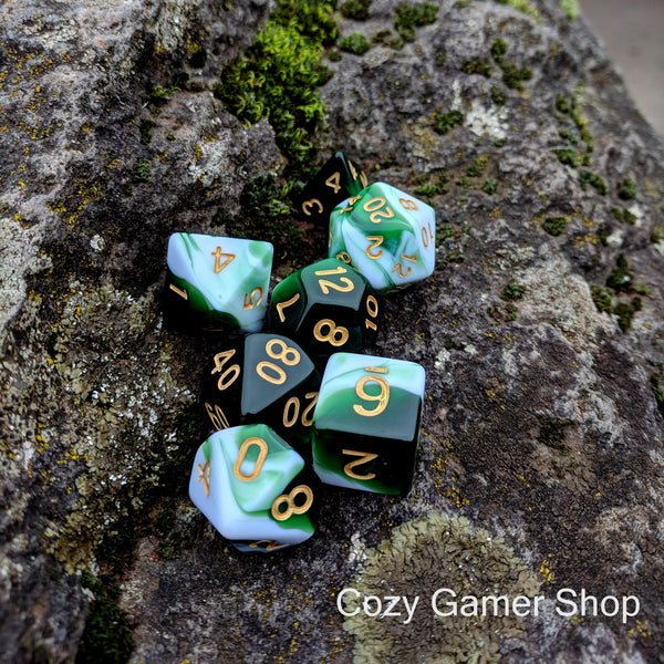 Volley Dice Set, Green and White Marbled 7 Piece D&D Dice Set