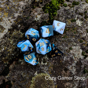 Blue and White Dice Set, Marbled 7 Piece D&D Dice Set