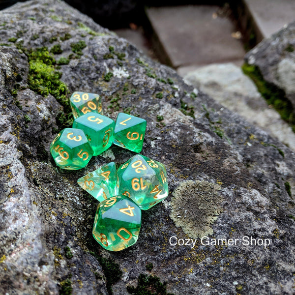 Arrow Shift Dice Set, Translucent Green Ink 7 Piece D&D Dice Set