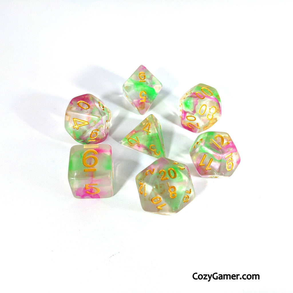 Charmer DnD Dice Set, Translucent Dice with Pink and Green Ink - CozyGamer