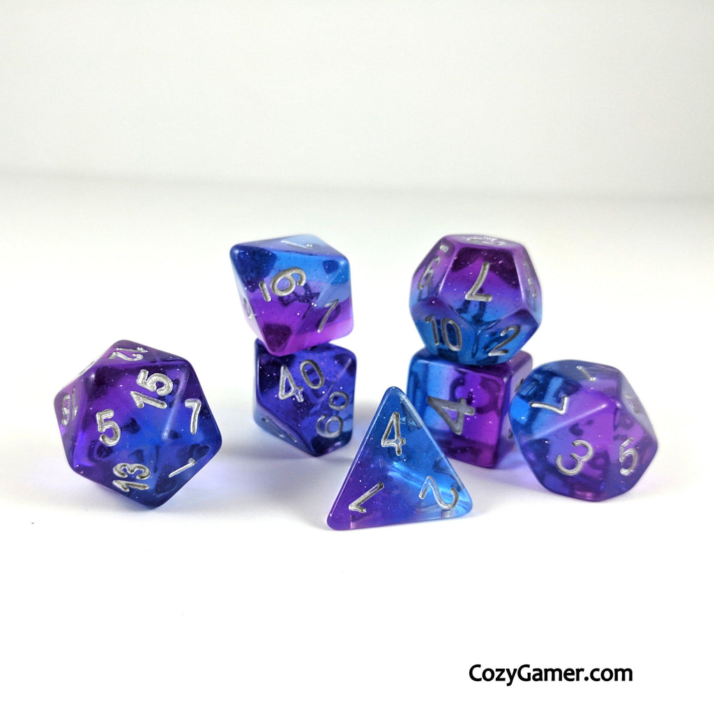 Twilight DnD Dice Set, Semi Translucent Gradient Dice - CozyGamer