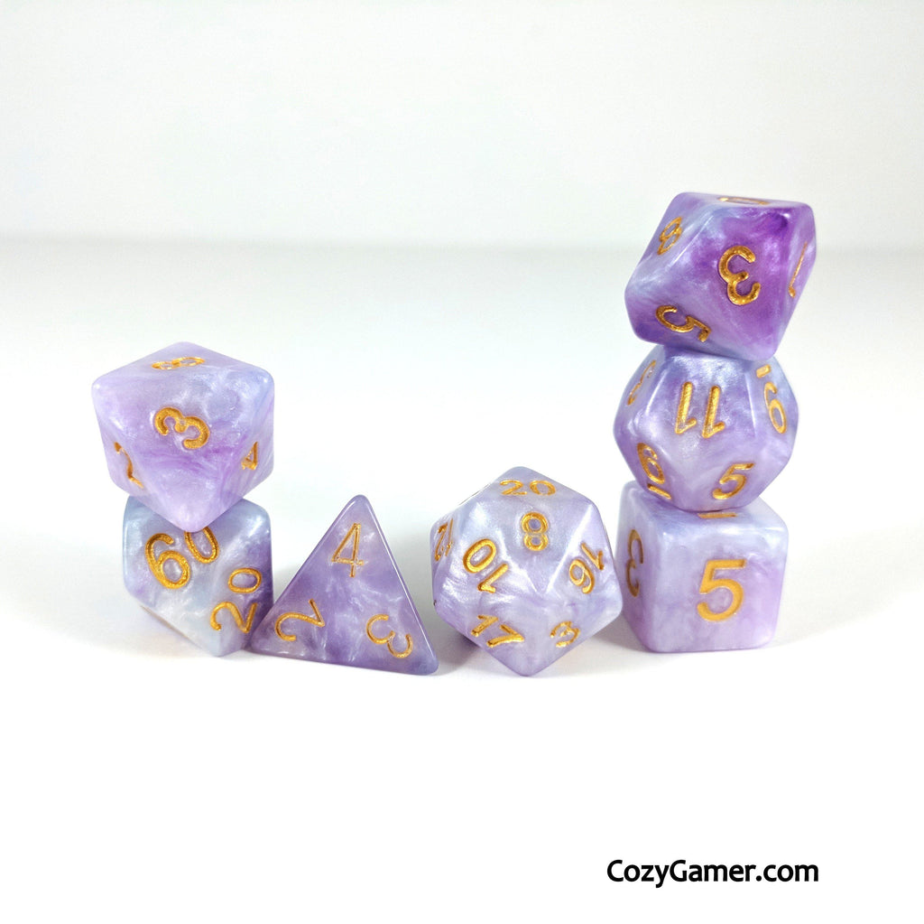 Periwinkle Dream DnD Dice Set, Blue and Purple Pearl Shimmer Dice - CozyGamer