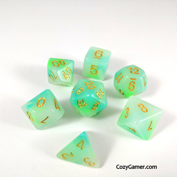 Jade Aura DnD Dice Set, Cloudy Dice-Dice sets-CozyGamer