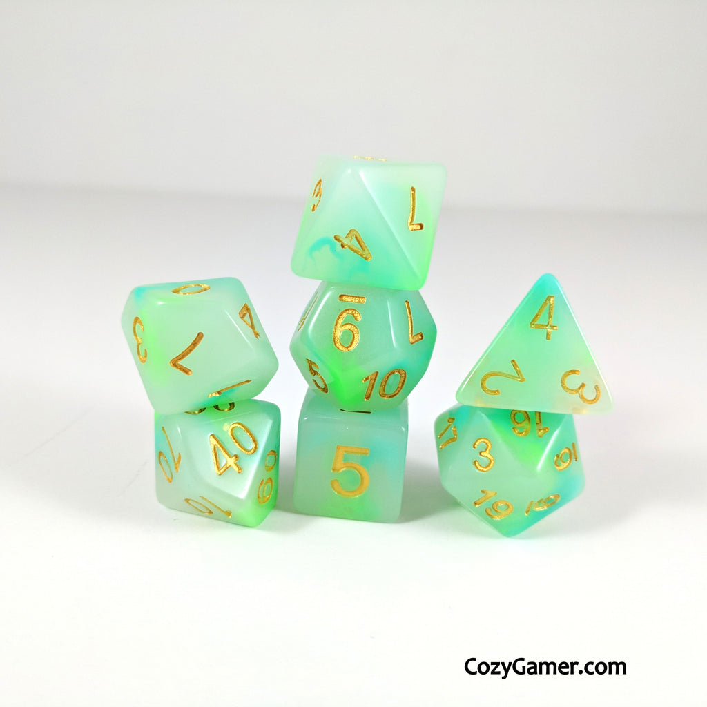 Jade Aura DnD Dice Set, Cloudy Dice. Green and White Dice - CozyGamer