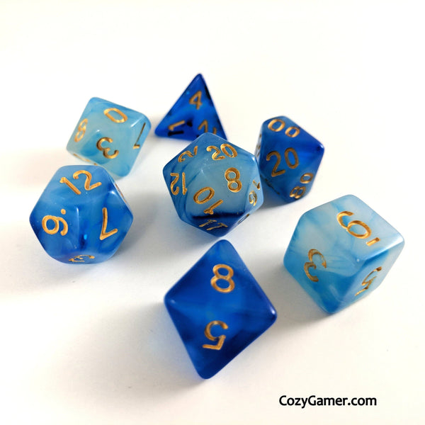 Hypnotic DnD Dice Set, Semi Translucent Cloudy Dice-Dice sets-CozyGamer