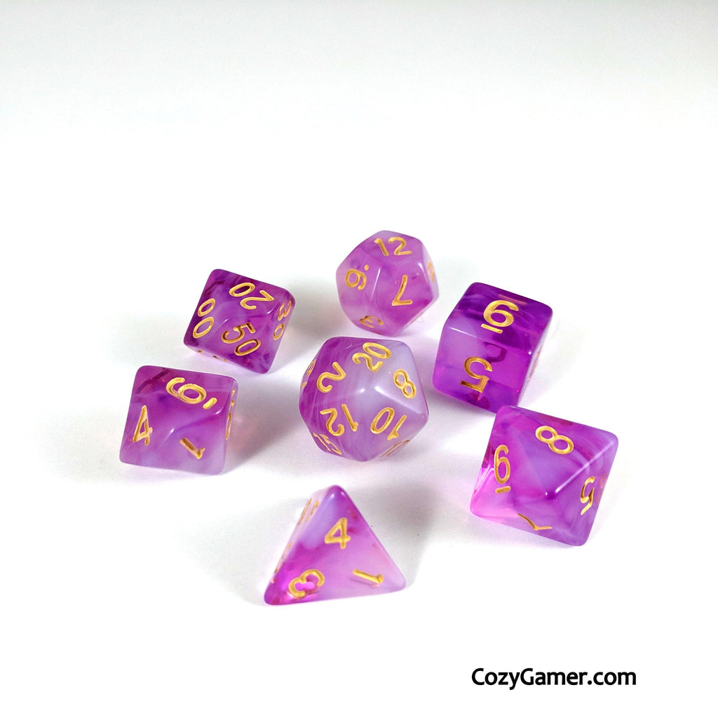 Eldritch Blast DnD Dice Set, Semi Translucent Cloudy Dice - CozyGamer