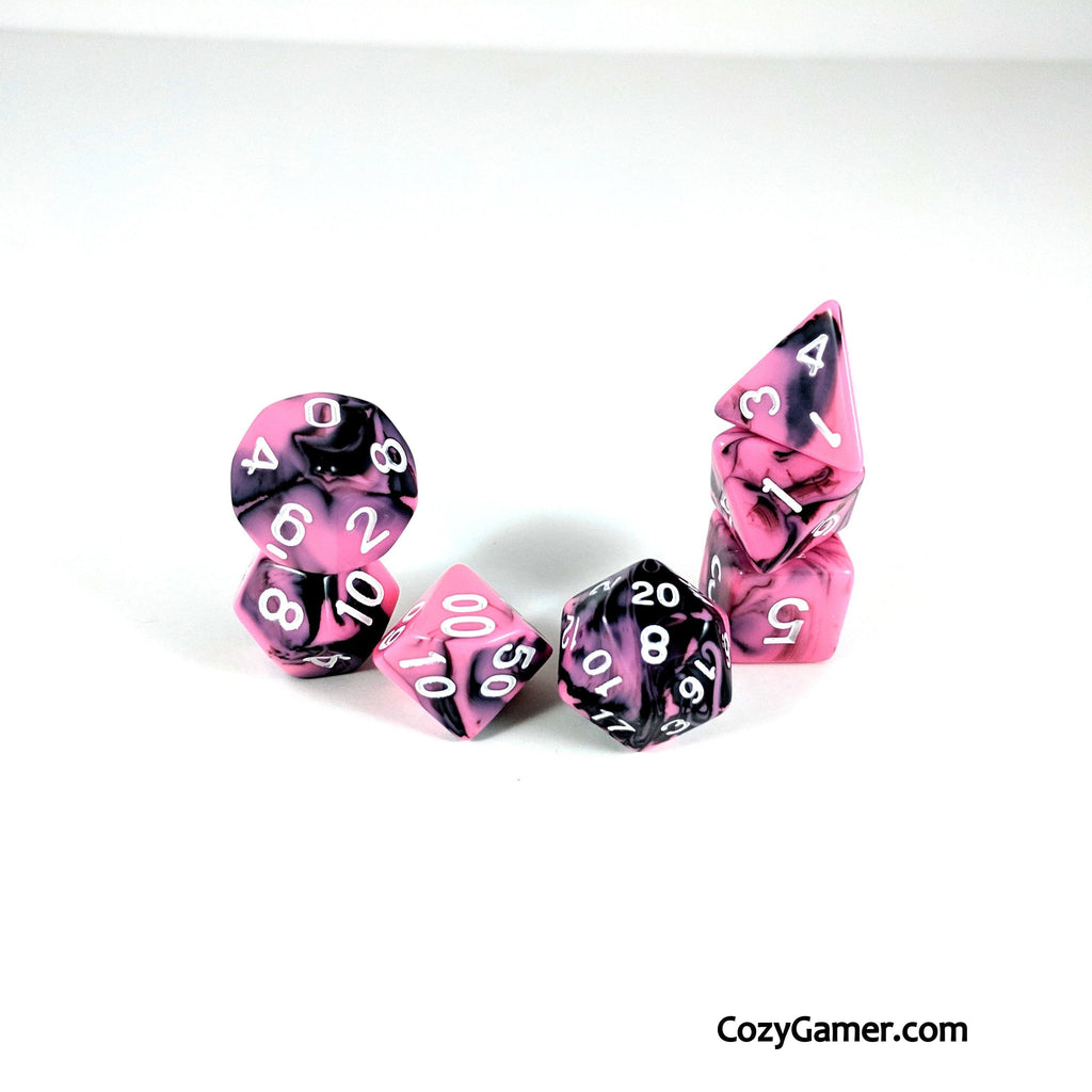 Bright Encounter DnD Dice Set, Black and Pink Marble Dice - CozyGamer