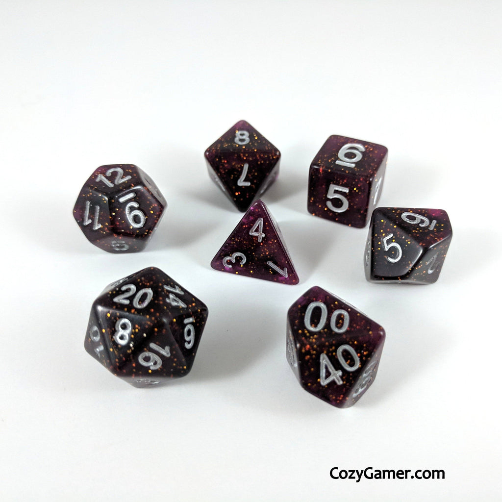 Necromancy DnD Dice Set, Semi Translucent Glitter Dice - CozyGamer
