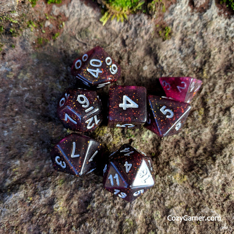 Necromancy DnD Dice Set, Semi Translucent Glitter Dice