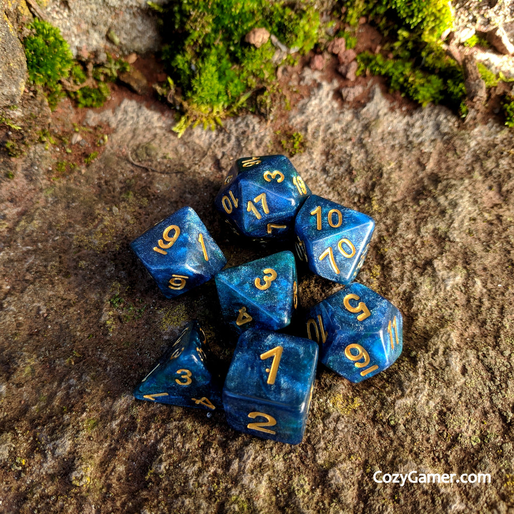 Neptunium DnD Dice Set, Blue and Green Shimmer Dice - CozyGamer