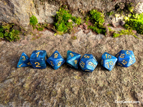 Neptunium DnD Dice Set, Blue and Green Shimmer Dice-Dice sets-CozyGamer