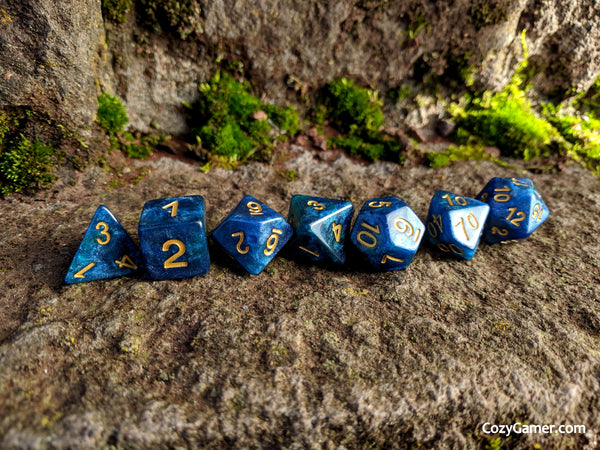 Neptunium DnD Dice Set, Blue and Green Shimmer Dice