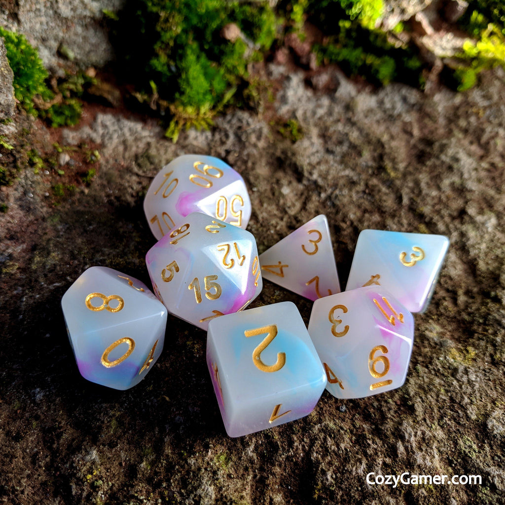 Happy Clouds DnD Dice Set, Cloudy Dice - CozyGamer
