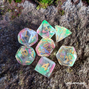 Charmer DnD Dice Set, Translucent Dice with Pink and Green Ink-Dice sets-CozyGamer