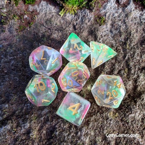 Charmer DnD Dice Set, Translucent Dice with Pink and Green Ink