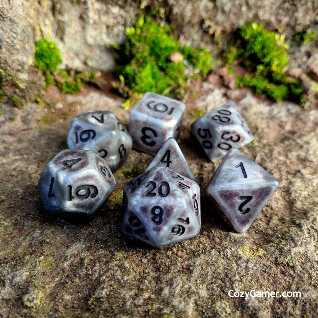 Ancient Gray DnD Dice Set, Matte Gray Aged Dice - CozyGamer
