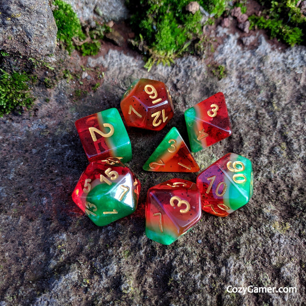 Watermelon DnD Dice Set, Semi Translucent Gradient Dice-Dice sets-CozyGamer