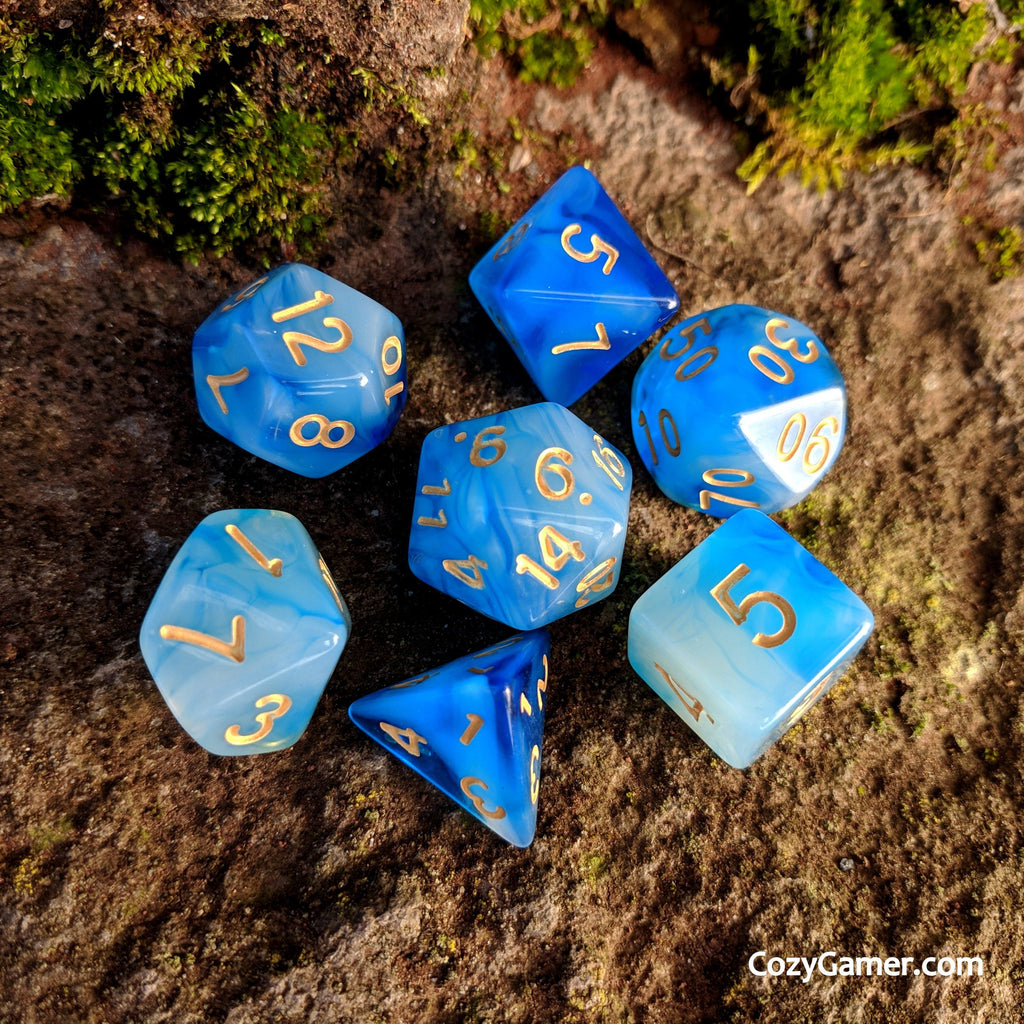 Hypnotic DnD Dice Set, Semi Translucent Cloudy Blue and White Dice - CozyGamer