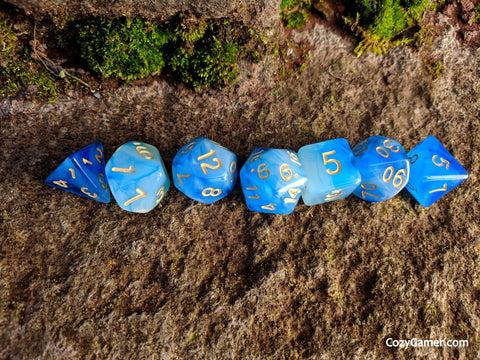 Hypnotic DnD Dice Set, Semi Translucent Cloudy Dice