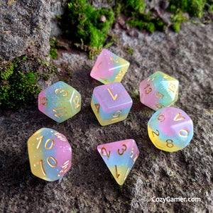 Care Bear Stare DnD Dice Set, Semi Translucent Pastel Rainbow Gradient Dice