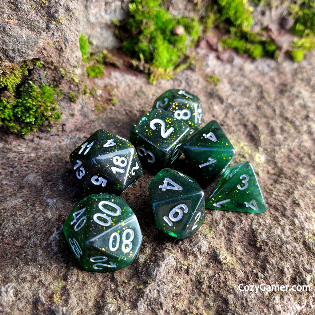 Conjuration DnD Dice Set, Semi Translucent Glitter Dice - CozyGamer