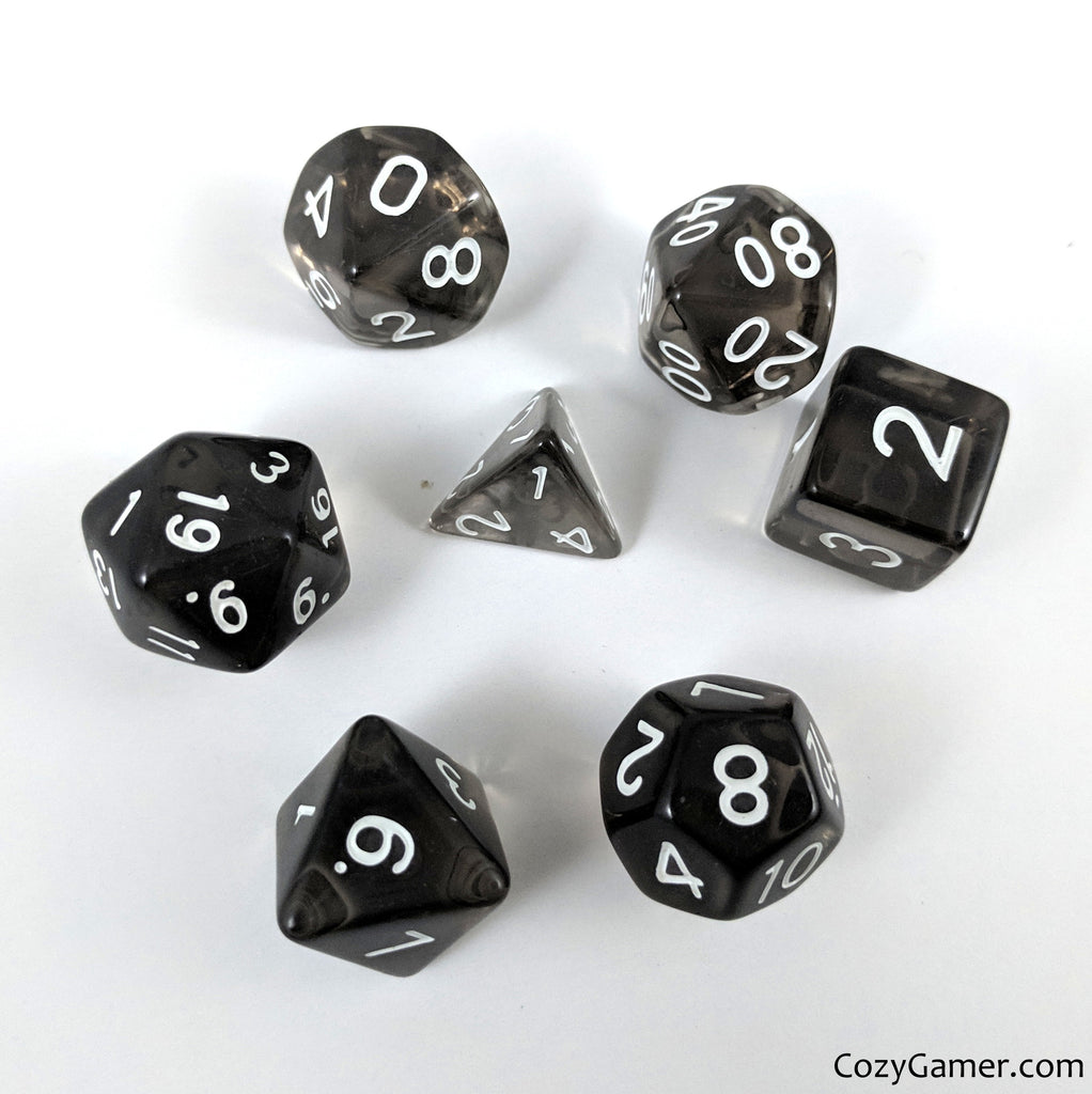 Smoky Dice Set, Black Translucent Dice - CozyGamer