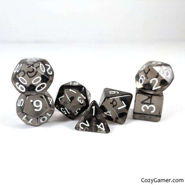 Smoke Dice Set, Black Translucent Dice-Dice sets-CozyGamer