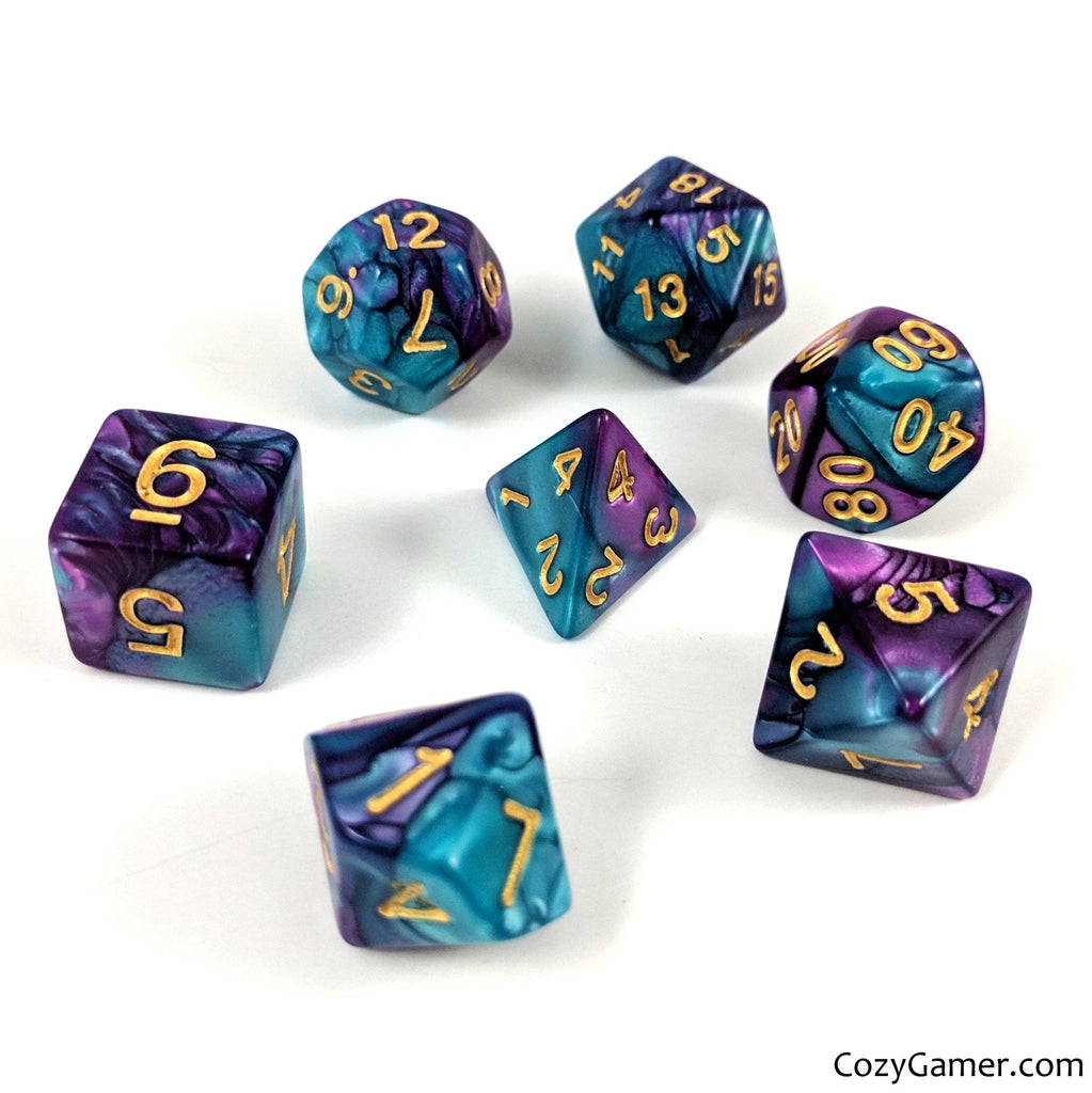 Guidance Dice Set, Pearly Blue and Purple Dice - CozyGamer