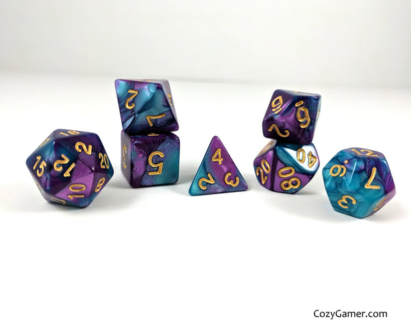 Guidance Dice Set, Pearly Blue and Purple Dice